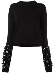 Mcq By Alexander Mcqueen Embellished Sleeve Jumper Black