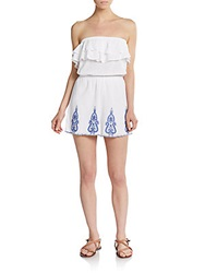 Saks Fifth Avenue Red Embroidered Strapless Gauze Romper White