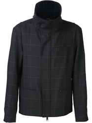 Public School Funnel Neck Window Check Jacket Black
