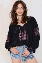 Nasty Gal Vintage Kaila Embroidered Peasant Blouse