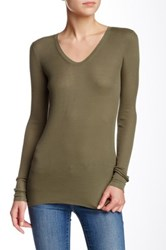 Inhabit Long Sleeve Silk Blend Tee Green