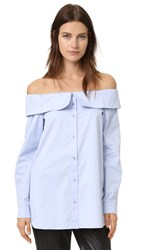 Tibi Off The Shoulder Shirt Morning Blue