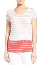 Women's Two By Vince Camuto Dip Dye Stripe V Neck Tee