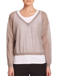 Peserico Shimmer Knit Sweater Taupe
