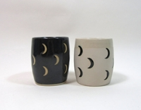 Pair Of Crescent Moon Cups Black And Unglazed By Smallspells