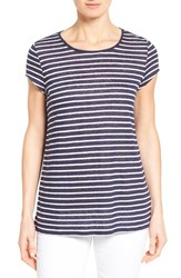 Women's Nordstrom Collection Cap Sleeve Stripe Linen Tee Navy White Stripe