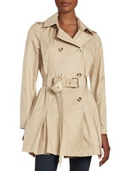 Michael Kors Plus Hooded Double Breasted Trench Coat British Khaki
