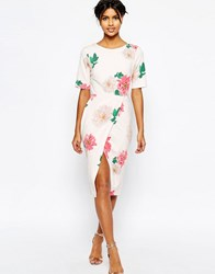 Asos Occasion Wiggle Dress In Floral Print With Wrap Front Multi