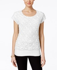 Joseph A Crochet Short Sleeve Sweater Only At Macy's Bright White