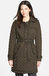 Petite Women's Michael Michael Kors Belted Quilted Coat With Detachable Hood