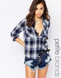 New Look Petite Western Check Shirt Blue Black