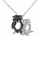 Two Tone Black Diamond Double Owl Pendant Necklace 0.02 Ctw Multi