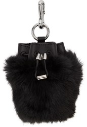Alexander Wang Black Fur Mini Roxy Keychain Pouch