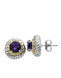 Lord And Taylor 14 Kt. Yellow Gold Sterling Silver Amethyst Earrings Sterling Silver 14K Yellow Gold