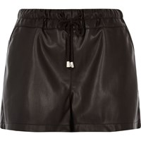River Island Womens Black Leather Look Runner Shorts