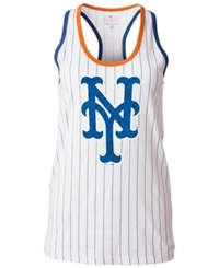 5Th And Ocean Women's New York Mets Pinstripe Glitter Tank Top White