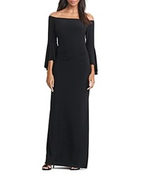 Ralph Lauren Off The Shoulder Bell Sleeve Gown Black