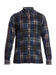 Lanvin Large Checked Slim Fit Wool Shirt Blue Multi