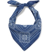 Rrl Printed Cotton Bandana Navy