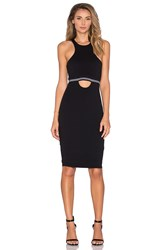 Bobi Pima Cotton Cut Out Midi Dress Black And White