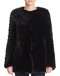 Aqua X Maddie And Tae Knit Faux Fur Jacket 100 Bloomingdale's Exclusive Black