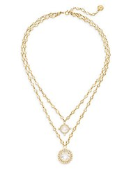 Freida Rothman Double Chain Crystal Necklace Gold