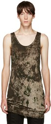 11 By Boris Bidjan Saberi Green Camo Wash Tank Top