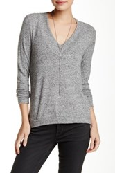 Harlowe And Graham V Neck Soft Knit Sweater Petite Gray
