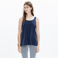 Madewell Silk Lookout Bow Back Top In Deep Navy