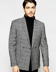 Asos Slim Double Breasted Suit Jacket In Monochrome Textured Fabric Blackwhite