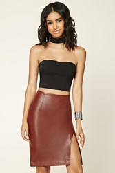 Forever 21 Faux Leather Slit Pencil Skirt