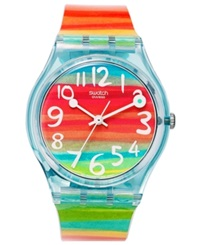Swatch Watch Unisex Swiss Color The Sky Rainbow Plastic Strap 34Mm Gs124