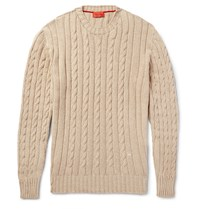 Isaia Cable Knit Cotton And Cashmere Blend Sweater Neutrals