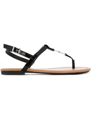 Armani Jeans Logo Plaque Flat Sandals Black