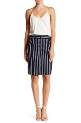 Lily White Stripe Button Skirt Blue