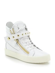 Giuseppe Zanotti Studded Strap Leather High Top Sneakers White Black