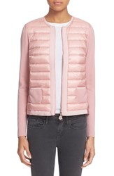 Women's Moncler 'Maglia' Quilted Down Front Tricot Cardigan Light Pink