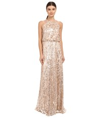 Donna Morgan Halter Sequin Rose Quartz Women's Dress Pink
