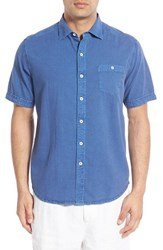 Men's Big And Tall Tommy Bahama 'Corvair Cruiser' Seersucker Short Sleeve Sport Shirt Dockside Blue