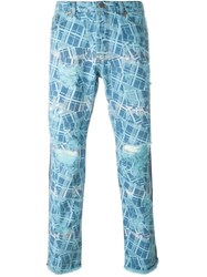 James Long Printed Slim Jeans Blue