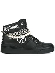 Moschino Chain And Pearl Embellished Hi Top Sneakers Black