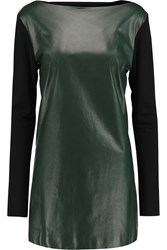 Vionnet Leather And Jersey Tunic Green