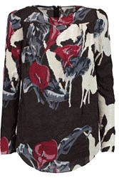 Carven Sequin Embellished Crinkled Satin Top Black