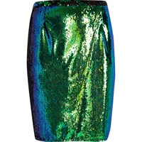 River Island Womens Ri Plus Emerald Green Sequin Pencil Skirt