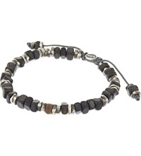 M Cohen Horn And Silver Disc Bracelet Black Horn