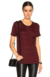 Saint Laurent Classic Crew Neck Striped Tee In Black Red Stripes