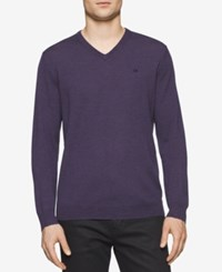 Calvin Klein Men's Merino V Neck Sweater Bk Amet Mouline