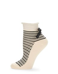 Free People Striped Ankle Socks Cream
