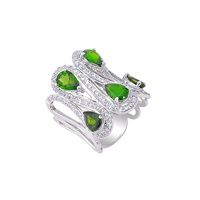 H. Azeem Green Diopside Ring Green Silver