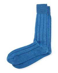 Neiman Marcus Cashmere Blend Ribbed Socks Periwinkle